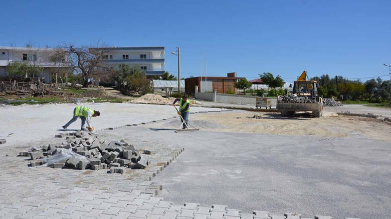 Alanya'nın Akdam Meydanı parke taş ile kaplandı...