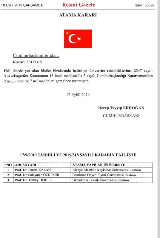 ALKÜ'NÜN YENİ REKTÖRÜ BELLİ OLDU...