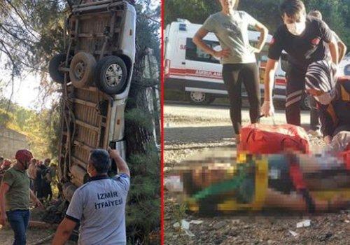 İzmir'de servis minibüsü şarampole yuvarlandı: 6 ölü, 11 yaralı...