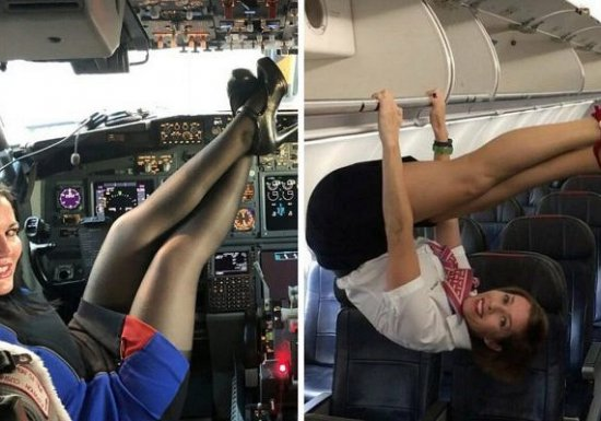 Как развлекаются стюардессы в самолетах, когда нет пассажиров...